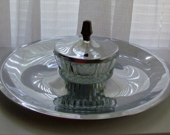 Chrome Party Serving Tray with Covered Nut Dish