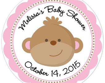 Monkey Baby Shower Stickers - Monkey Custom Baby Shower Labels - Personalized for YOU
