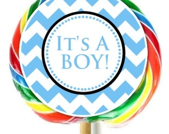 Chevron Baby Shower Lollipop Stickers, It's a Boy Baby Shower Stickers, EXTRA Large Personalized Stickers, Fit on WHIRLY LOLLIPOPS