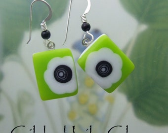 Lime Blooms Earrings, Fused Glass Jewelry Handmade in North Carolina