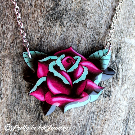 Magenta and Slate Blue Big Rose Tattoo Necklace
