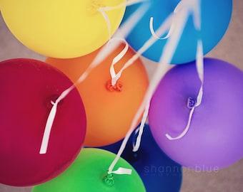 rainbow balloon photography / birthday party, celebration, party, celebrate, happy / party / 8x8 fine art photo