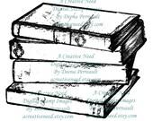 INSTANT download Digital Stamp Image VINTAGE Stack of BOOKS. Scrapbook, Card making supplies.
