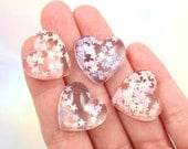 Glitter Heart Cabochons - 20mm Lovely Magical Pastel Confetti Hearts Resin Cabochons - 6 pc set