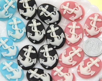 25mm Small Anchor Cameo Resin Cabochons - 12 pc set