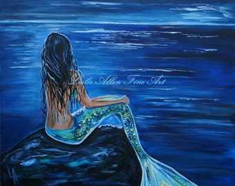 "Mermaid Painting Mermaids Girl Ocean Fantasy Magical Art Print Decor Child  ""Enchanting Mermaid"" Leslie Allen Fine Art"