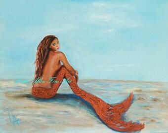 "Mermaid Mermaids Siren  Art Print Giclee Girl Woman Ocean Seascape Fantasy Art Decor  ""Captivating Copper Mermaid"" Leslie Allen Fine Art"