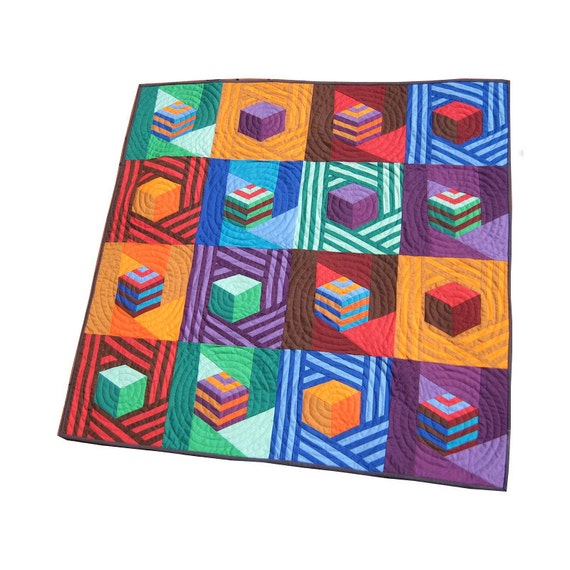 Jazzed Up Tumbling Blocks - Modern Patchwork Baby Quilt, Crib Quilt, or Wall Quilt