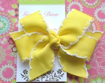 Yellow with White Crochet Edge Classic Diva Bow