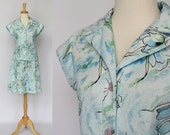 SALE - 70s Blouse and Mini Skirt / Blue Floral / Polyester Knit / Small