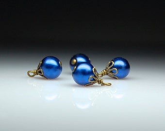Vintage Style Bead Dangles Dark Blue Glass Pearls Set of Four BL42