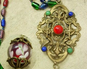 VIntage Czech RED Glass Pendant necklace with chain tassel and blown glass bead