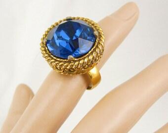 Huge Blue Vintage Costume Ring BIG setting Gothic size 5