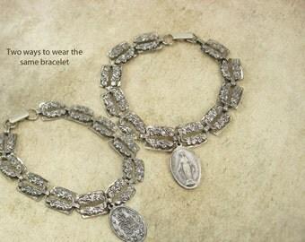 Vintage sterling Sacred Heart BRacelet beau sterling 1830 miraculous Religious medal fob