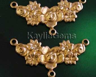 2 Rose Flower 3 Way Connectors Raw Brass Baroque Victorian Nouveau Premium Quality USA G7037RB
