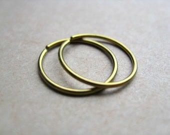 gold hoops. yellow niobium earrings. small hoop earring.