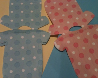 Any quantity baby shower shirt shaped or bib shaped napkins in blue or pink polka dots.