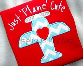 Machine Embroidery Design Applique Love Plane INSTANT DOWNLOAD