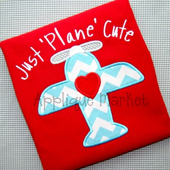 Machine Embroidery Design Applique Love Plane Instant Download