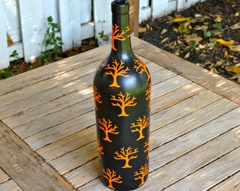Large Halloween Spooky Tree Upcycled Glass Bottle