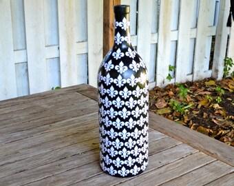 Large Black Fleur de Lis Inspired Upcycled Glass Bottle