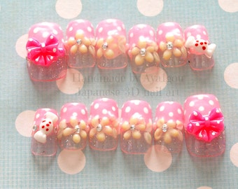 3D nails, kawaii nails, spring, floral, pukupuku art, Japanese nail art, decoden, harajuku, polka dots, bows