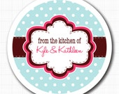 Frame on Tiny Dots . Personalized Kitchen Stickers, Jar Labels or Tags