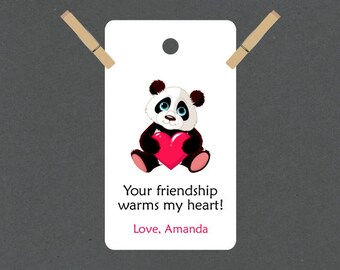 Cuddle Panda Valentine Tags or Package Labels (Qty. 10)