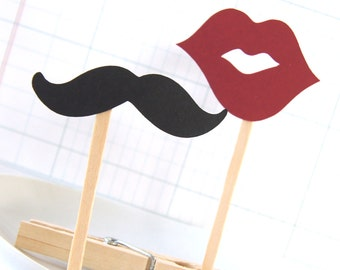 12 Mustache & Lips Cupcake Toppers or Party Picks