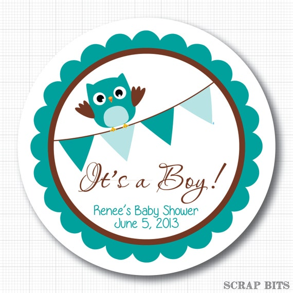 owl with bunting personalized baby shower stickers labels or tags