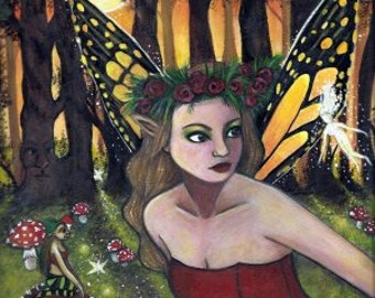 """PRINT 5 x 7"""" Faeries of the forest glade, fantasy, fairy art"""