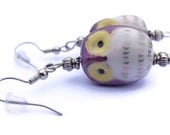 Mother's Day Sale, Purple, Yellow, and White Ceramic Owl Earrings