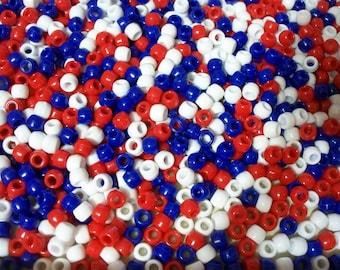 Bulk Lot,1000 Pony Beads, Patriotic Mix (Free US   Shipping)