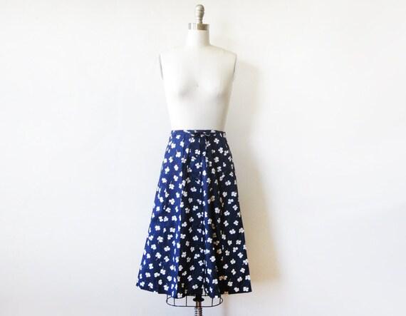 navy floral skirt vintage 70s navy blue floral print cotton