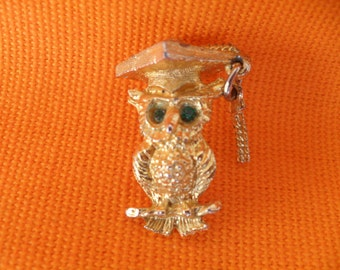 Vintage 70s Owl Miniature Charm Necklace Pendant
