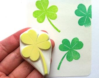 clover leaf rubber stamp | shamrock leaf stamp | woodland | st.patrick's day birthday scrapbooking | planner | hand carved by talktothesun