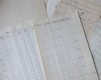Vintage Ledger Paper - a Dozen 6 blank & 6 used