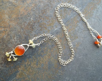 Carnelian and Grossular Garnet Necklace