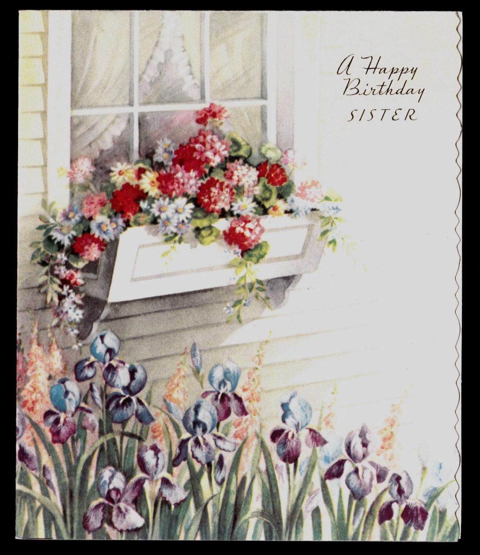 Vintage SISTER Happy Birthday Greeting Card By