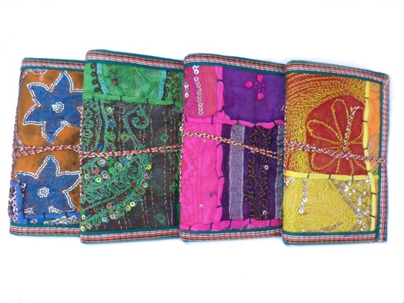 Indian Sari Journals, Set of 8, Bulk Buy, 6.99 Bucks each with Shipping, Wedding Favors, Party Favors, Give-away's, Stocking Stuffers, Gifts