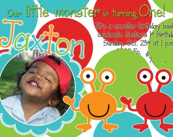 Print Your Own Little Monster Birthday Invitation
