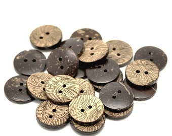 10 Brown Coconut Shell Buttons 15mm -  Rustic Waves (BC615)