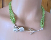 Cast Sterling Silver Plant and Peridot Necklace