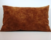 "Faux Suede Lumbar Bolster Pillow Cover  / Eco-Friendly / Golden Brown / 12x18"" / Free Shipping"