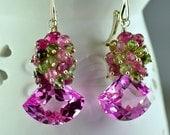 Pink Topaz Watermelon Tourmaline Gemstone Dangle Earrings Sterling Silver Wire Wrapped Earrings