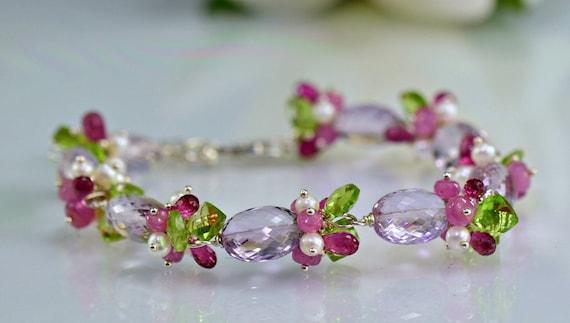 RESERVED-Pink Amethyst Bracelet Pink Tourmaline Topaz Sterling Silver  Gemstone Wire Wrapped Bracelet,Jardin Enchante
