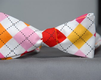 Tropical Sherbet Argyle  Bow Tie