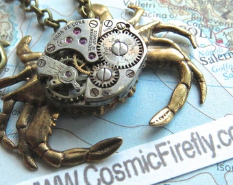 Steampunk Necklace Sand Crab Necklace Vintage Watch Movement Brass Crab Nautical Marine Sealife Design By Cosmic Firefly Las Vegas