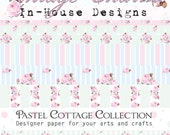 Pastel Cottage designer paper, for crafts and scrapbooking, printed paper in floral and pastels