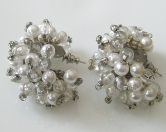 Vintage Statement Pearl Aurora Borealis AB Bead Cluster Pierced Earrings Wedding Jewelry